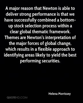 Helena Morrissey - A major reason that Newton is able to deliver strong performance is that we have successfully combined a bottom-up stock selection process within a clear global thematic framework. Themes are Newton's interpretation of the major forces of global change, which results in a flexible approach to identifying areas likely to yield the best performing securities.