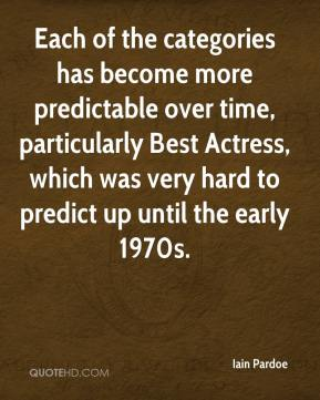 Each of the categories has become more predictable over time, particularly Best Actress, which was very hard to predict up until the early 1970s.