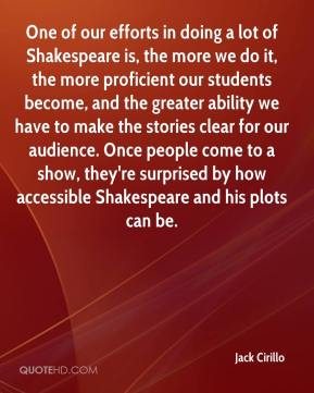 Jack Cirillo - One of our efforts in doing a lot of Shakespeare is, the more we do it, the more proficient our students become, and the greater ability we have to make the stories clear for our audience. Once people come to a show, they're surprised by how accessible Shakespeare and his plots can be.