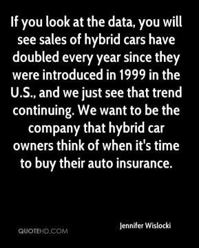 Jennifer Wislocki  - If you look at the data, you will see sales of hybrid cars have doubled every year since they were introduced in 1999 in the U.S., and we just see that trend continuing. We want to be the company that hybrid car owners think of when it's time to buy their auto insurance.