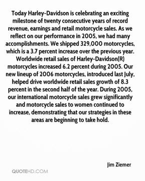 Jim Ziemer  - Today Harley-Davidson is celebrating an exciting milestone of twenty consecutive years of record revenue, earnings and retail motorcycle sales. As we reflect on our performance in 2005, we had many accomplishments. We shipped 329,000 motorcycles, which is a 3.7 percent increase over the previous year. Worldwide retail sales of Harley-Davidson(R) motorcycles increased 6.2 percent during 2005. Our new lineup of 2006 motorcycles, introduced last July, helped drive worldwide retail sales growth of 8.3 percent in the second half of the year. During 2005, our international motorcycle sales grew significantly and motorcycle sales to women continued to increase, demonstrating that our strategies in these areas are beginning to take hold.