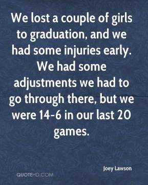Joey Lawson  - We lost a couple of girls to graduation, and we had some injuries early. We had some adjustments we had to go through there, but we were 14-6 in our last 20 games.