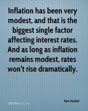 Ken Hackel  - Inflation has been very modest, and that is the biggest single factor affecting interest rates. And as long as inflation remains modest, rates won't rise dramatically.