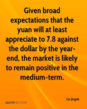 Liu Jingde  - Given broad expectations that the yuan will at least appreciate to 7.8 against the dollar by the year-end, the market is likely to remain positive in the medium-term.
