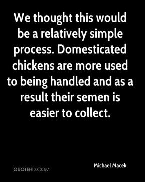Michael Macek  - We thought this would be a relatively simple process. Domesticated chickens are more used to being handled and as a result their semen is easier to collect.