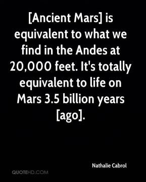 Nathalie Cabrol  - [Ancient Mars] is equivalent to what we find in the Andes at 20,000 feet. It's totally equivalent to life on Mars 3.5 billion years [ago].