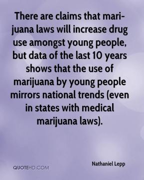 There are claims that mari-juana laws will increase drug use amongst young people, but data of the last 10 years shows that the use of marijuana by young people mirrors national trends (even in states with medical marijuana laws).