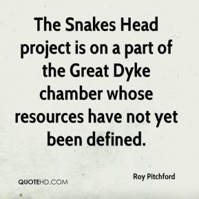 Roy Pitchford  - The Snakes Head project is on a part of the Great Dyke chamber whose resources have not yet been defined.