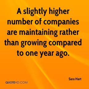 Sara Hart  - A slightly higher number of companies are maintaining rather than growing compared to one year ago.