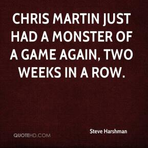 Steve Harshman  - Chris Martin just had a monster of a game again, two weeks in a row.