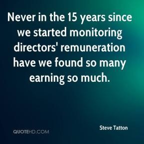 Steve Tatton  - Never in the 15 years since we started monitoring directors' remuneration have we found so many earning so much.