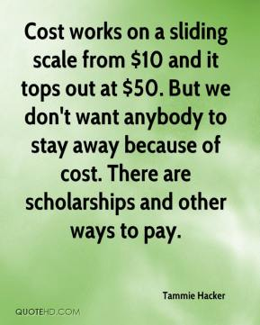 Cost works on a sliding scale from $10 and it tops out at $50. But we don't want anybody to stay away because of cost. There are scholarships and other ways to pay.