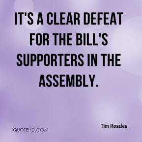 Tim Rosales  - It's a clear defeat for the bill's supporters in the Assembly.