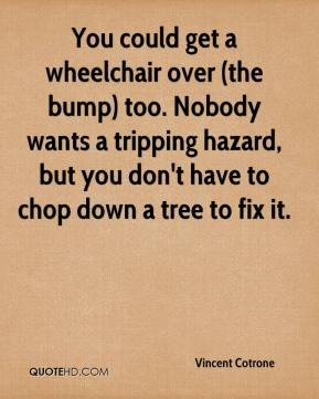 Vincent Cotrone  - You could get a wheelchair over (the bump) too. Nobody wants a tripping hazard, but you don't have to chop down a tree to fix it.