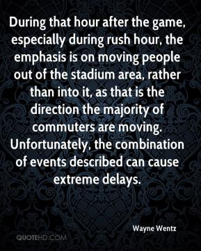 During that hour after the game, especially during rush hour, the emphasis is on moving people out of the stadium area, rather than into it, as that is the direction the majority of commuters are moving. Unfortunately, the combination of events described can cause extreme delays.