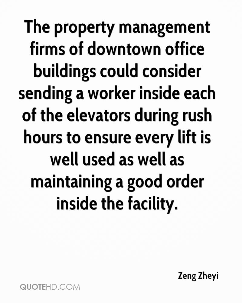 The property management firms of downtown office buildings could consider sending a worker inside each of the elevators during rush hours to ensure every lift is well used as well as maintaining a good order inside the facility.