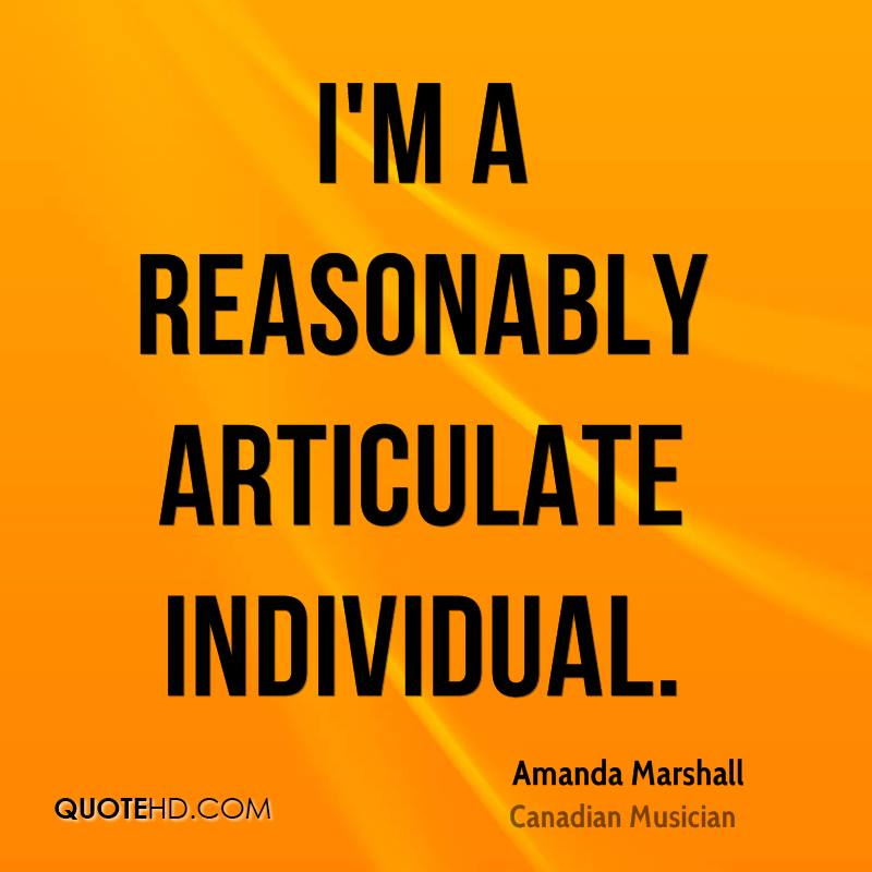 I'm a reasonably articulate individual.