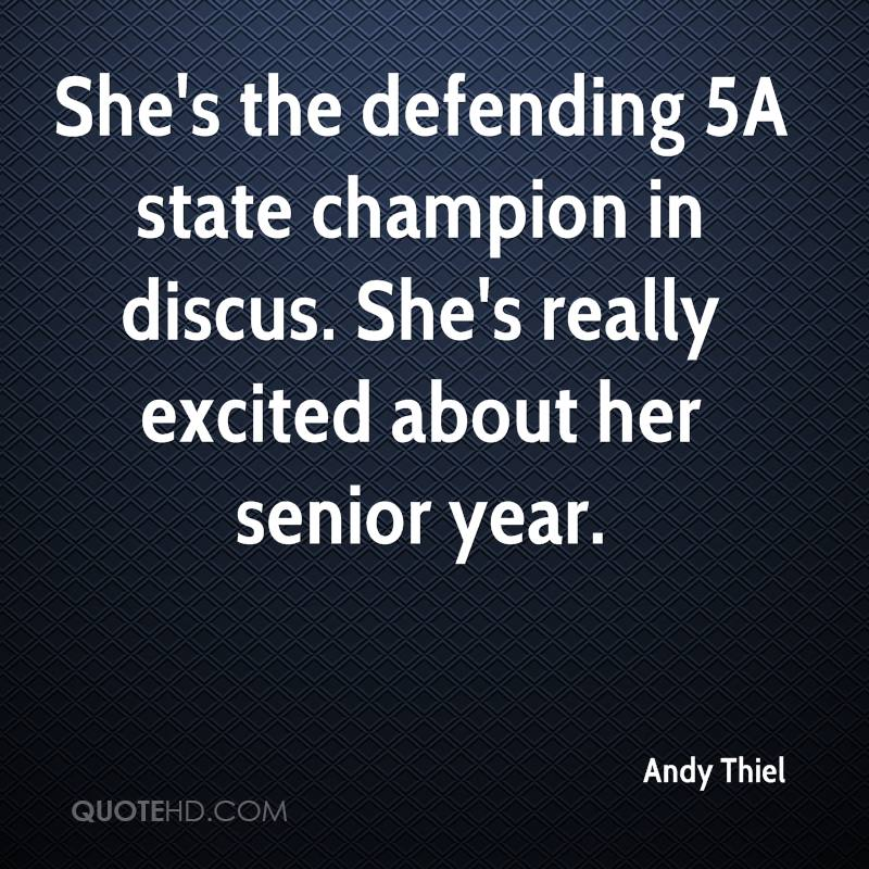 She's the defending 5A state champion in discus. She's really excited about her senior year.