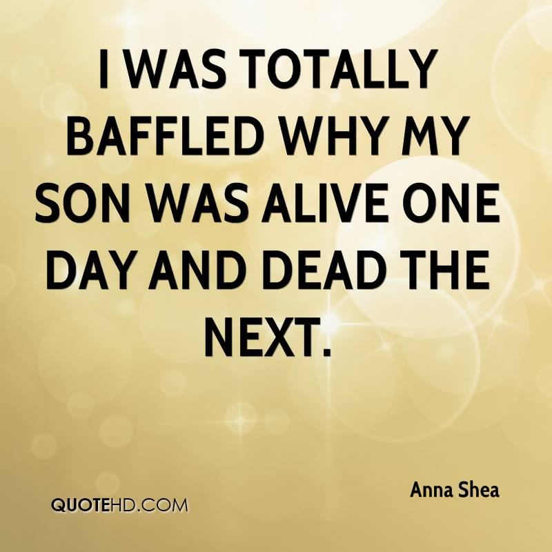 I was totally baffled why my son was alive one day and dead the next.