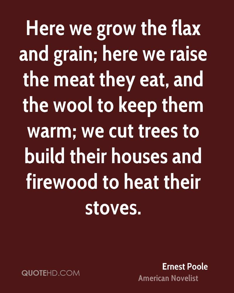Here we grow the flax and grain; here we raise the meat they eat, and the wool to keep them warm; we cut trees to build their houses and firewood to heat their stoves.