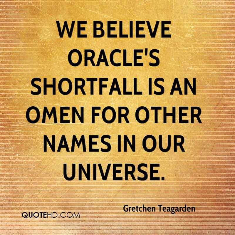 We believe Oracle's shortfall is an omen for other names in our universe.