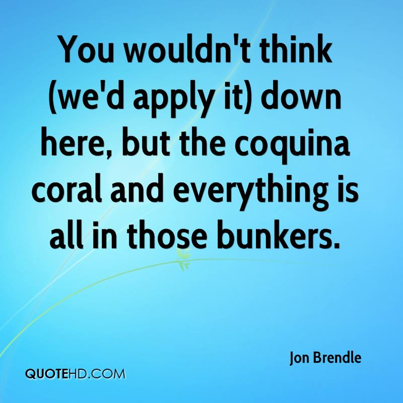 You wouldn't think (we'd apply it) down here, but the coquina coral and everything is all in those bunkers.