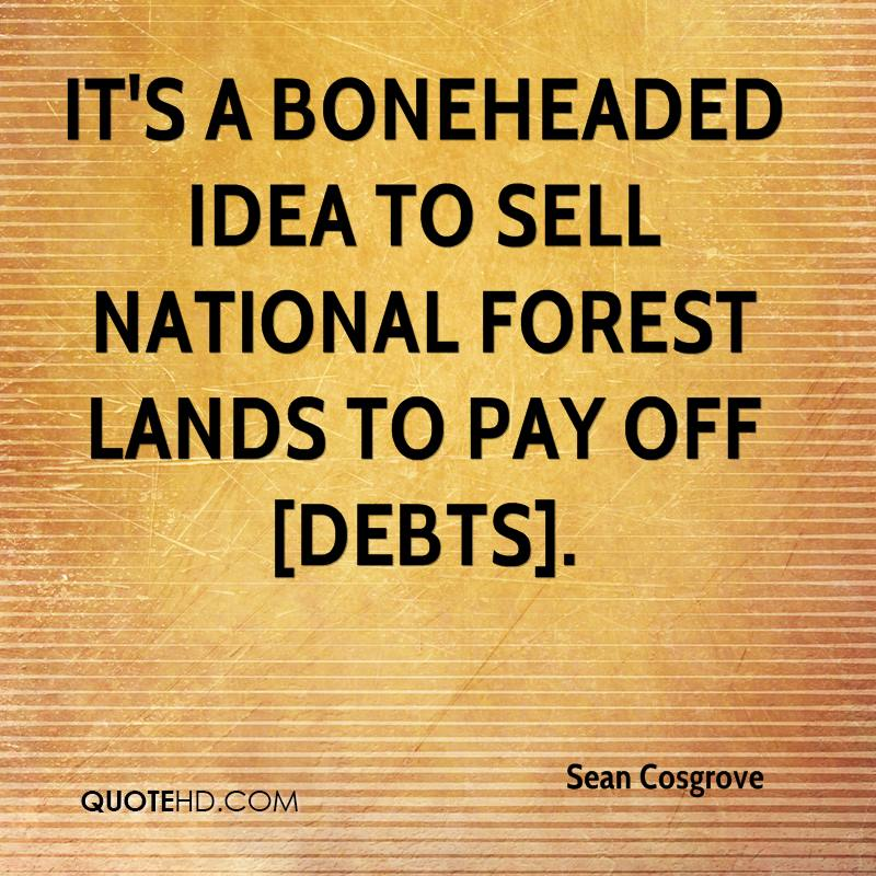 It's a boneheaded idea to sell national forest lands to pay off [debts].
