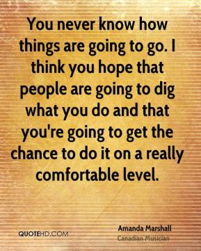 You never know how things are going to go. I think you hope that people are going to dig what you do and that you're going to get the chance to do it on a really comfortable level.