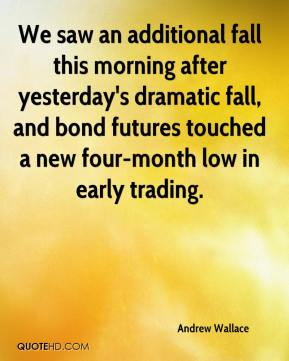 Andrew Wallace - We saw an additional fall this morning after yesterday's dramatic fall, and bond futures touched a new four-month low in early trading.