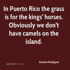 Antonio Rodriguez - In Puerto Rico the grass is for the kings' horses. Obviously we don't have camels on the island.