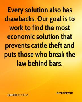 Brent Bryant - Every solution also has drawbacks. Our goal is to work to find the most economic solution that prevents cattle theft and puts those who break the law behind bars.