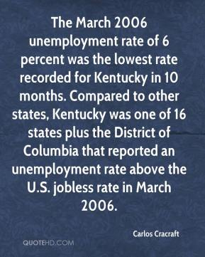 Carlos Cracraft - The March 2006 unemployment rate of 6 percent was the lowest rate recorded for Kentucky in 10 months. Compared to other states, Kentucky was one of 16 states plus the District of Columbia that reported an unemployment rate above the U.S. jobless rate in March 2006.
