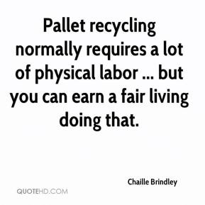 Chaille Brindley - Pallet recycling normally requires a lot of physical labor ... but you can earn a fair living doing that.