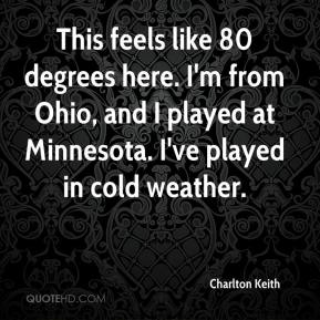 Charlton Keith - This feels like 80 degrees here. I'm from Ohio, and I played at Minnesota. I've played in cold weather.