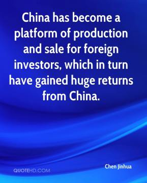 China has become a platform of production and sale for foreign investors, which in turn have gained huge returns from China.