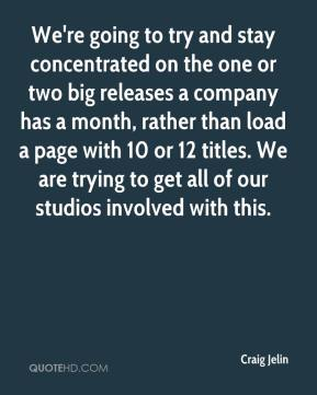 Craig Jelin - We're going to try and stay concentrated on the one or two big releases a company has a month, rather than load a page with 10 or 12 titles. We are trying to get all of our studios involved with this.