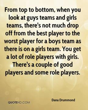 Dana Drummond - From top to bottom, when you look at guys teams and girls teams, there's not much drop off from the best player to the worst player for a boys team as there is on a girls team. You get a lot of role players with girls. There's a couple of good players and some role players.