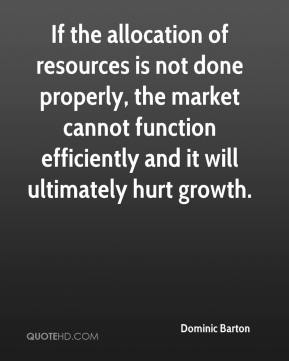 Dominic Barton - If the allocation of resources is not done properly, the market cannot function efficiently and it will ultimately hurt growth.