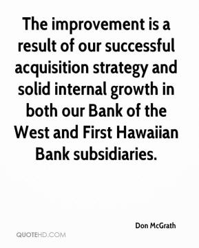 Don McGrath - The improvement is a result of our successful acquisition strategy and solid internal growth in both our Bank of the West and First Hawaiian Bank subsidiaries.