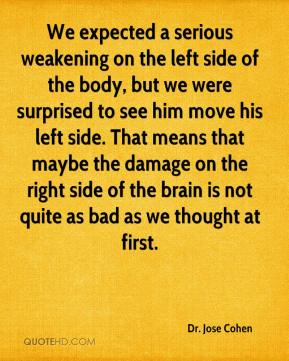 Dr. Jose Cohen - We expected a serious weakening on the left side of the body, but we were surprised to see him move his left side. That means that maybe the damage on the right side of the brain is not quite as bad as we thought at first.