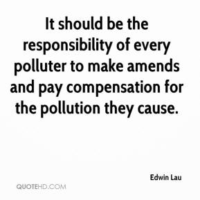 Edwin Lau - It should be the responsibility of every polluter to make amends and pay compensation for the pollution they cause.