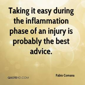 Taking it easy during the inflammation phase of an injury is probably the best advice.