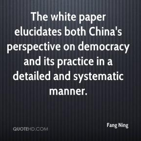 Fang Ning - The white paper elucidates both China's perspective on democracy and its practice in a detailed and systematic manner.