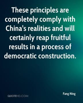 Fang Ning - These principles are completely comply with China's realities and will certainly reap fruitful results in a process of democratic construction.