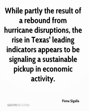 Fiona Sigalla - While partly the result of a rebound from hurricane disruptions, the rise in Texas' leading indicators appears to be signaling a sustainable pickup in economic activity.