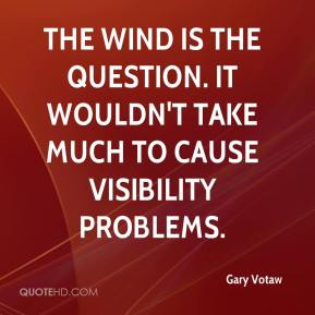 Gary Votaw - The wind is the question. It wouldn't take much to cause visibility problems.