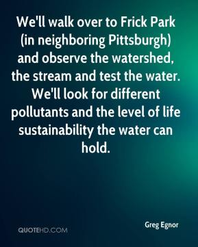 Greg Egnor - We'll walk over to Frick Park (in neighboring Pittsburgh) and observe the watershed, the stream and test the water. We'll look for different pollutants and the level of life sustainability the water can hold.