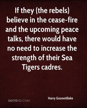 Harry Goonetilleke - If they (the rebels) believe in the cease-fire and the upcoming peace talks, there would have no need to increase the strength of their Sea Tigers cadres.