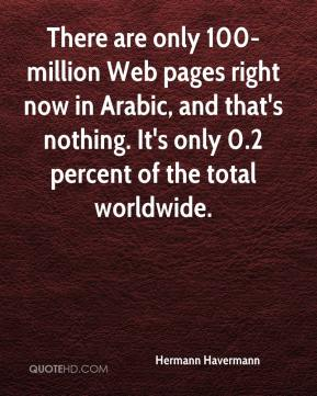 There are only 100-million Web pages right now in Arabic, and that's nothing. It's only 0.2 percent of the total worldwide.