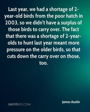 James Austin - Last year, we had a shortage of 2-year-old birds from the poor hatch in 2003, so we didn't have a surplus of those birds to carry over. The fact that there was a shortage of 2-year-olds to hunt last year meant more pressure on the older birds, so that cuts down the carry over on those, too.